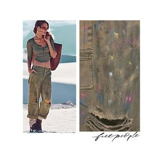NEW Free People Denver Painted Cargo Olive Jeans